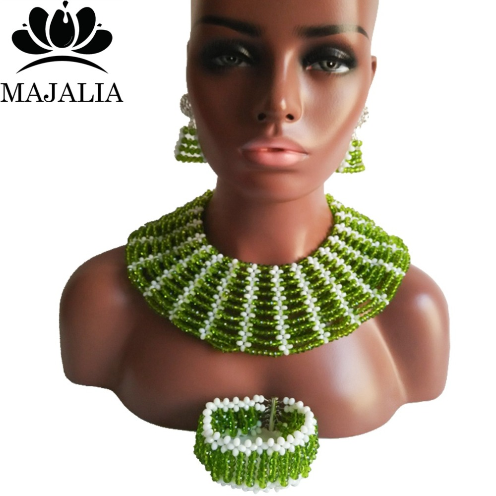 Majalia Classic Nigerian Wedding African Jewelry Set Olive green and White Crystal Necklace Bride Jewelry Sets 10SX018Majalia Classic Nigerian Wedding African Jewelry Set Olive green and White Crystal Necklace Bride Jewelry Sets 10SX018