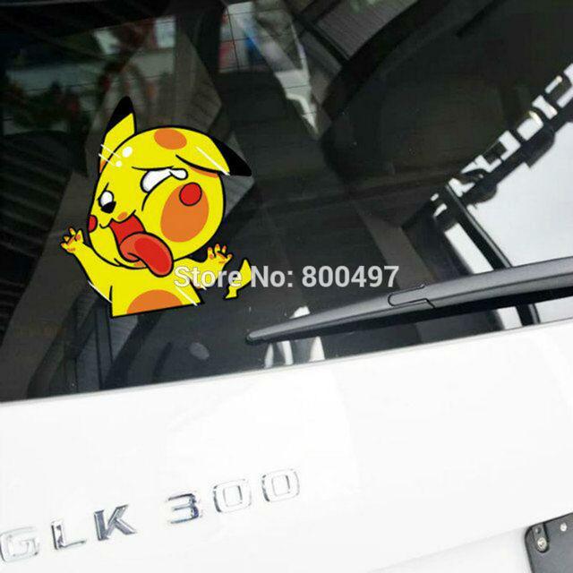 Styling Mobil Kartun Hewan Pikachu Pokemon Memukul Kaca Mobil Stiker