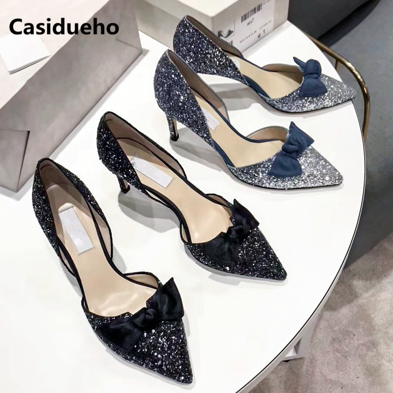 Luxury Sequins Women Pumps Bow-knot Stiletto Wedding Shoes Woman Elegant Pointy Toe Zapatos Mujer Thin High Heels Sandalias 2018 elegant women s round toe pumps with stiletto and suede design