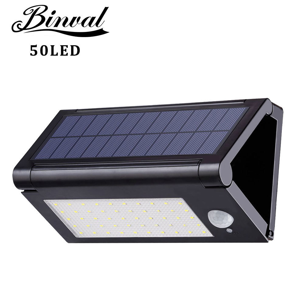 Binval Solar Lamps 50LEDs Foldable Motion Sensor Outdoor 3 Modes Garden Solar Led Solar Outdoor Luz Solar Panel Lamp Lights