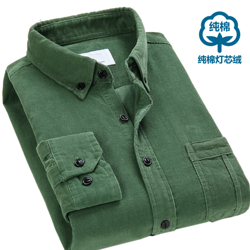 <font><b>Winter</b></font> <font><b>Men</b></font> Blouse Casual Corduroy <font><b>Fur</b></font> Lined <font><b>Shirts</b></font> Warm Tops Long Sleeve Lapel X20 image