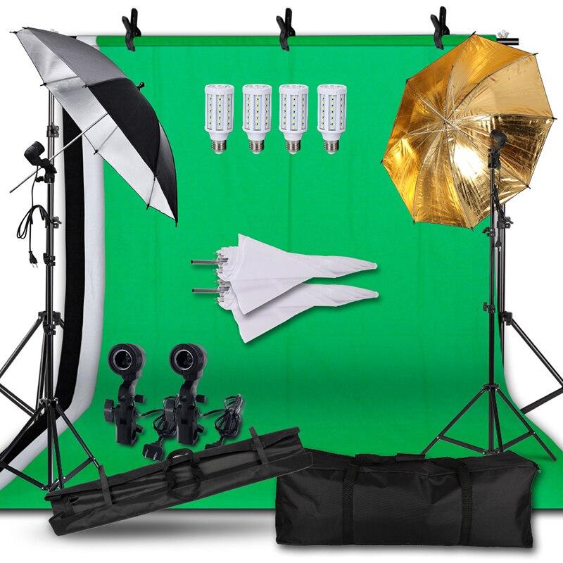 Kit d'éclairage continu de Studio de parapluie de toile de fond de photographie, écran vert Non tissé et Support de Support de fond pour la Photo