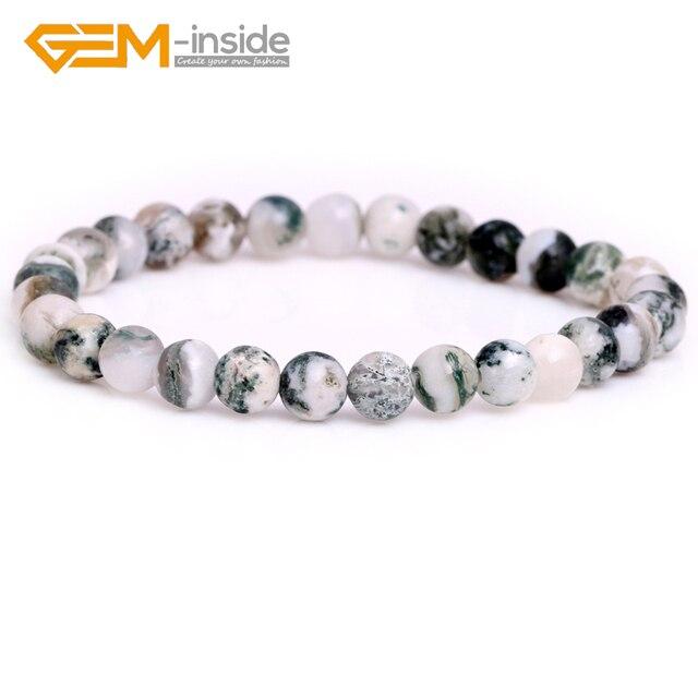 Taille sélectionnable 4mm 6mm 8mm 10mm naturel vert mousse arbre Agates pierre gemme perle élastique Bracelet bijoux pour les femmes nouveau!!