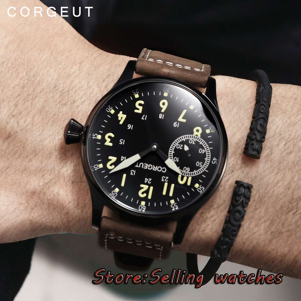 цена 44mm Corgeut Black Dial Stainless steel PVD Case 17 jewels 6497 Hand Winding Movement Men's Watch онлайн в 2017 году