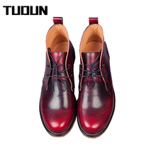2016 Handmade Genuine Leather men autumn winter boots, Winter men boots, ankle martin boots for men