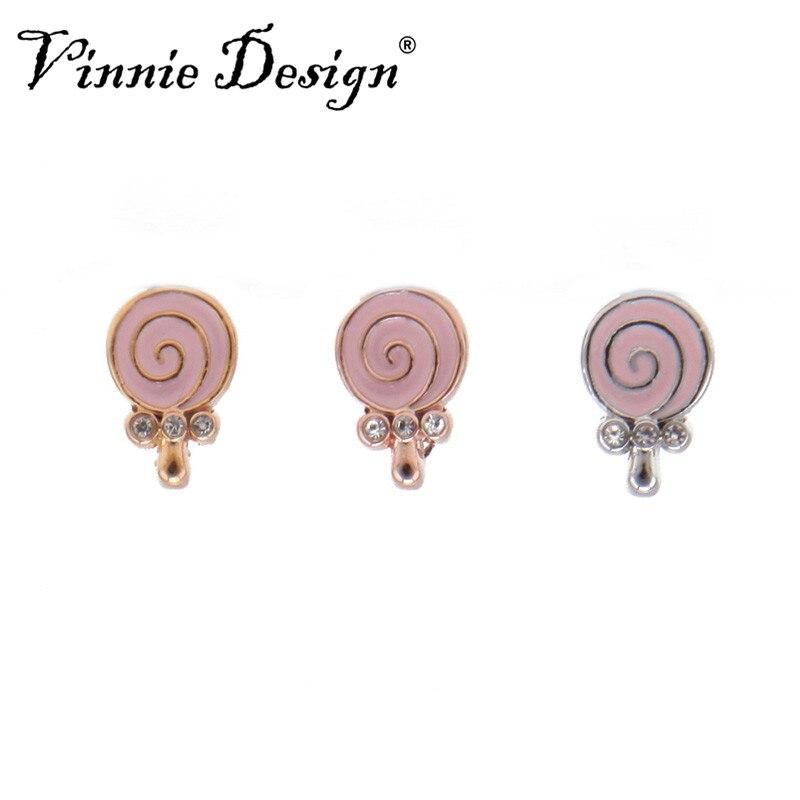 Vinnie Design Jewelry 8mm Lollipop Slide Charms fit on Wrap Bracelets Wristband Belts for Women and Children 10pcs/lot