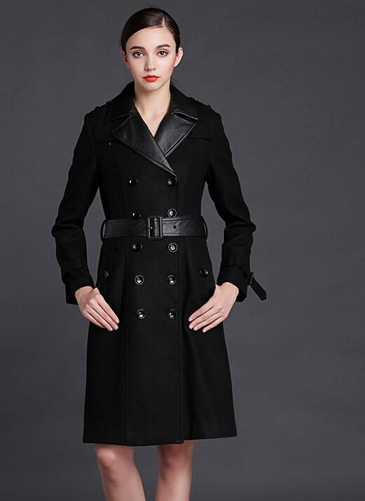 Black belt winter coat women double breasted women s cashmere wool coat slim high quality england