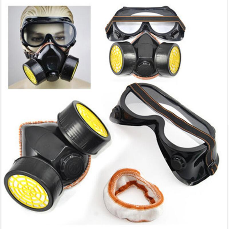 New Protection Filter Dual Gas Mask Chemical Gas Anti Dust Paint Respirator Face Mask With Goggles Industrial Safety Wholesale