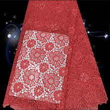 Item No.SQG44 guaranteed quality african cord lace cloth with rhinestones for wedding dress free shipping hot sale