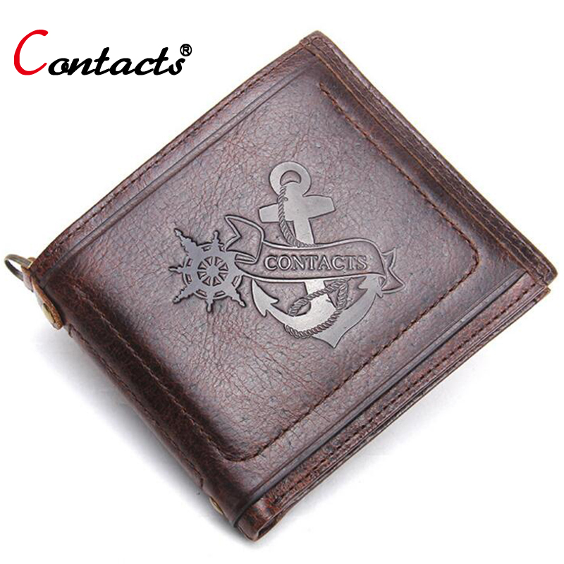 CONTACTS Men wallet male Genuine leather wallet credit card holder Passport Cover Small coin purse fashion men Short wallet