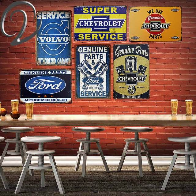Service Authorized Garage Tin Signs 2030cm Bar Pub Home Wall