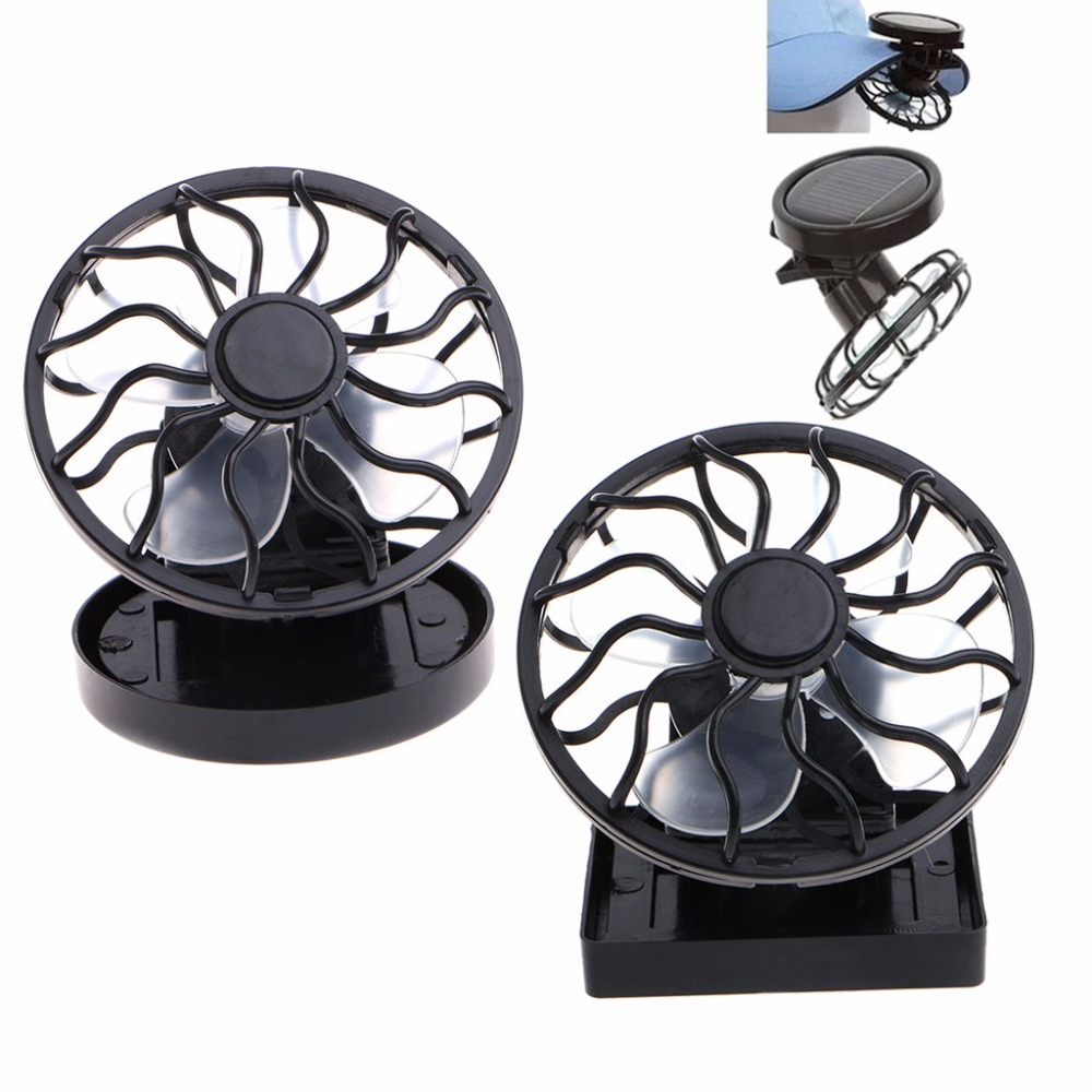 Solar Panel Powered Mini Portable Clip-On Cooling Fan For Travel Camping Fishing