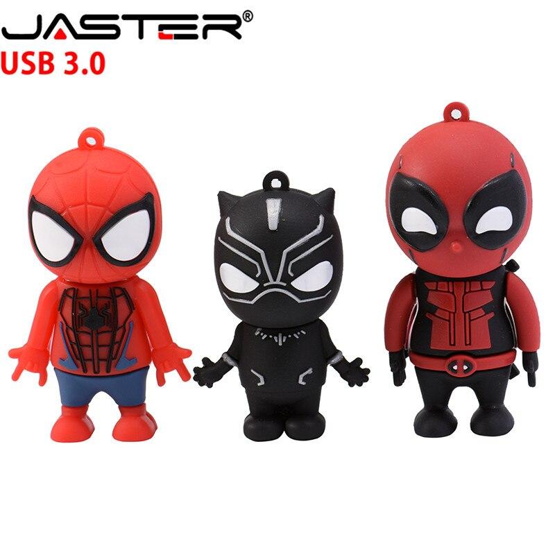 JASTER Marvel Comics Black Panther Spiderman Deadpool USB 3.0 Pen Drive Minions  Memory Stick  Flash Drive 4G 16G 32GB 64GB Gift