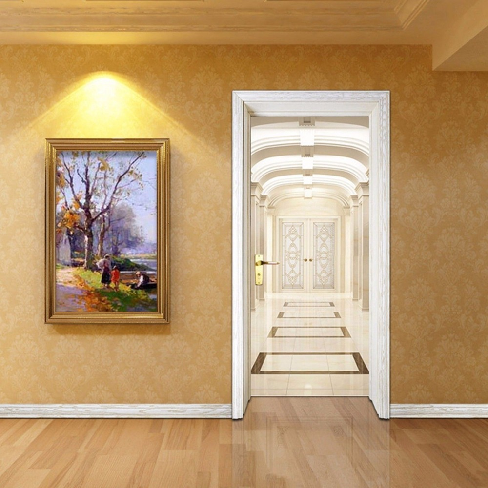Free shipping indoor aisle door wall stickers diy mural for Diy photo wall mural