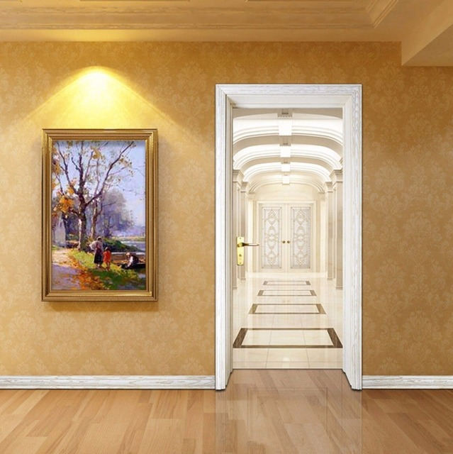 Free shipping indoor aisle door wall stickers diy mural bedroom home decor poster pvc waterproof door