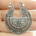 Free shipping 17367 5PCS Tibetan Silver Hollow Flower Moon Filigree Pendant Connector