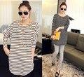 Caliente venta de otoño de maternidad ropa de moda suelta más la talla inicio raya de manga larga T Shirt embarazada vestido de mujer primavera 2014