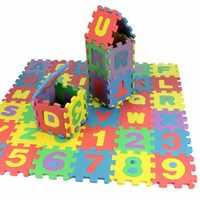 Números do alfabeto Crianças Rastejando Esteira Do Jogo Do Bebê Tapete Macio Chão Mini pçs/set 36 Esteiras Puzzle para Crianças Brinquedos Do Bebê de Aprendizagem para Subir
