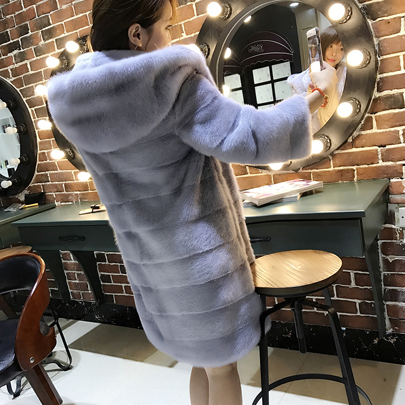 LTGFUR 2017 New Style Whole Peel Import Long mink coats with Hood Women hood fur coats from natural fur,real mink fur coat