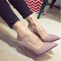 2016 nuevos Europeos y Americanos de moda nude rosa princesa zapatos de Mujer con tacones puntiagudos zapatos superfino Mujeres bombas