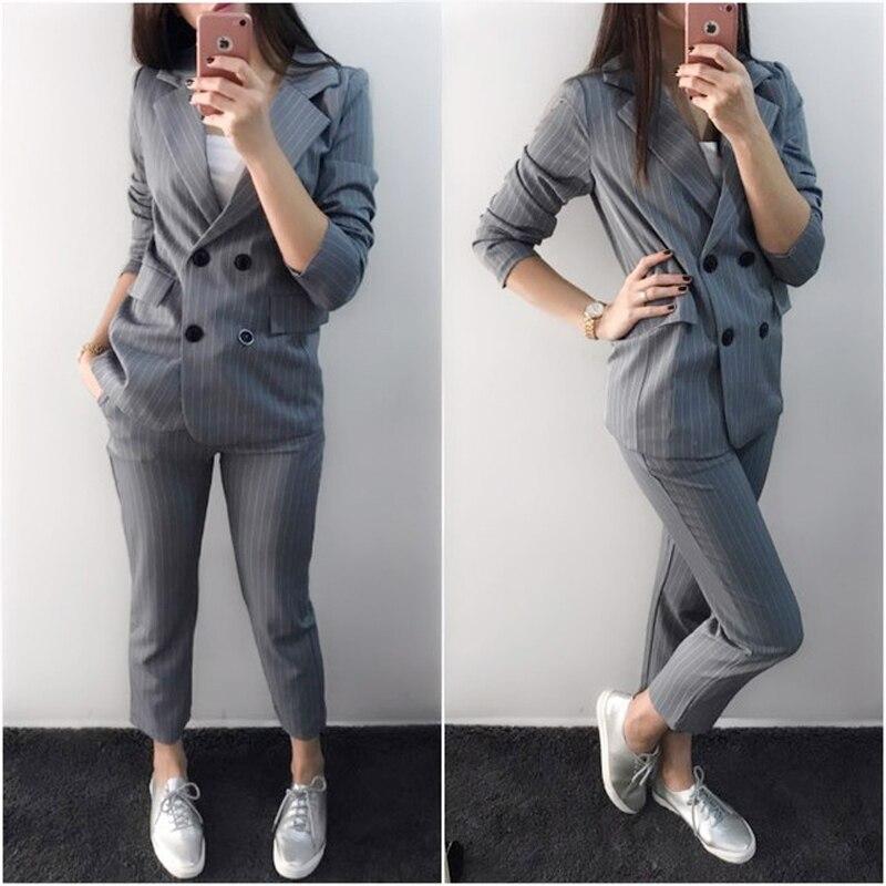 Work Fashion Pant Suits 2 Piece Set for Women Blazer Jacket Office Lady