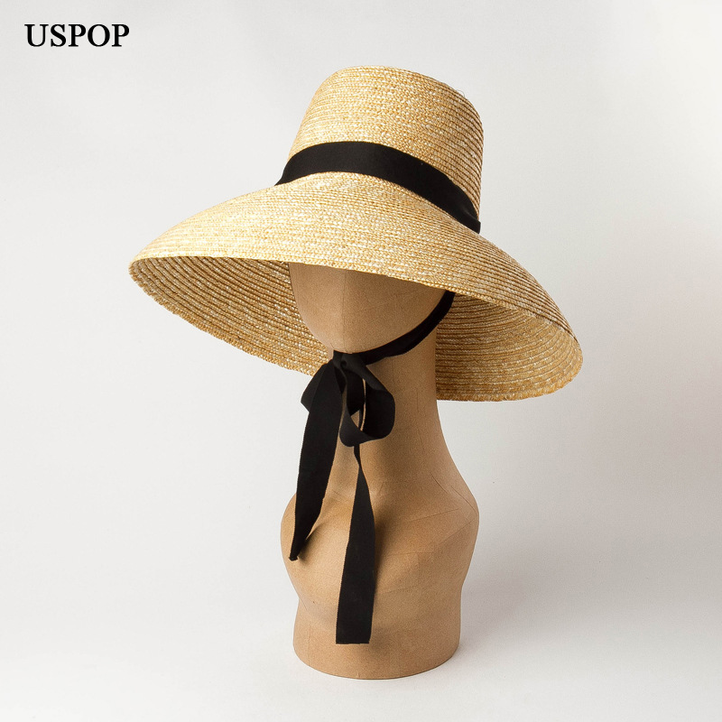 USPOP 2019 New Summer Hats For Women Natural Wheat Straw Hats High Flat Top Long Ribbon Lace-up Sun Hats Wide Brim Beach Hats