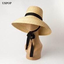 USPOP 2019 New summer hats for women natural wheat straw high flat top long ribbon lace-up sun wide brim beach