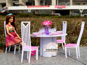 Image 2 - New style play set for barbie furniture 1/6 bjd bonecas living room tables and chairs doll house accessories Puzzle toys baby