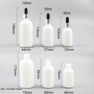 Image 2 - 200 x High Quality Refillable Natural White Dropper Bottles 1oz Empty Glass Piepette Dropper Container 30ml 50ml 100ml