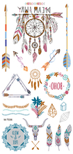1pcswaterproof Bronzing Temporary Tattoo Stickers Girl,Color Dream Catcher,feathers,arrow Design,Body Painting Arm Wrist Sticker