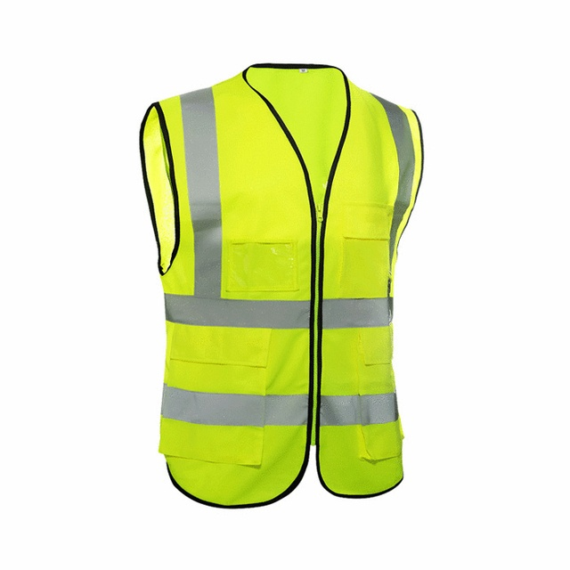 New high visibility Reflective safety vest unisex polyester multiple pockets building construction reflective work clothing