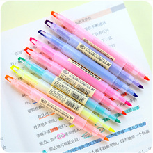 8 pcs/Lot Dual-side Highlighter pen Korean fluorescent for bookmark Cute Stationery Office accessories School supplies FB825