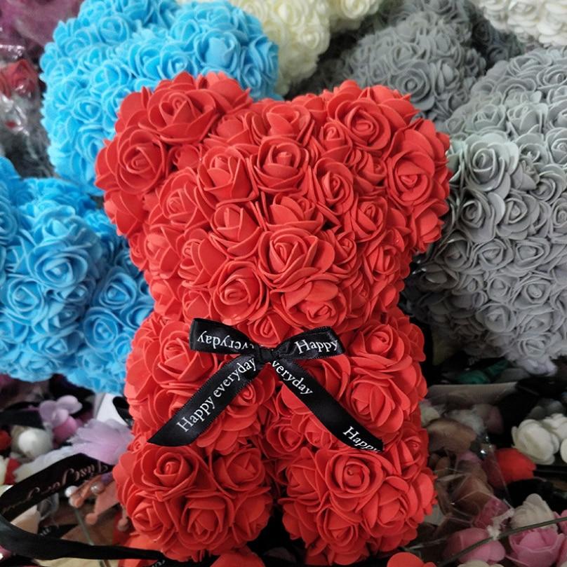 38cm fleurs artificielles Rose ours multicolore mousse Rose ours en peluche petite amie saint valentin cadeau anniversaire fête décoration