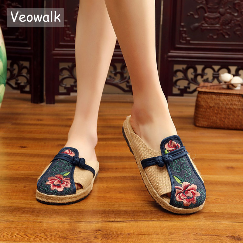 Veowalk Flower Embroidered Handmade Women Linen Cotton Flat Espadrilles Slippers Summer Retro Ladies Casual Comfort Mules Shoes pantofola d oro низкие кеды и кроссовки