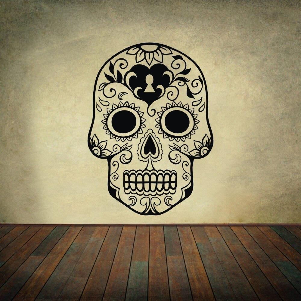المكسيكي السكر الجمجمة ملصقات جدار الفن الفينيل الجدار ملصق مائي