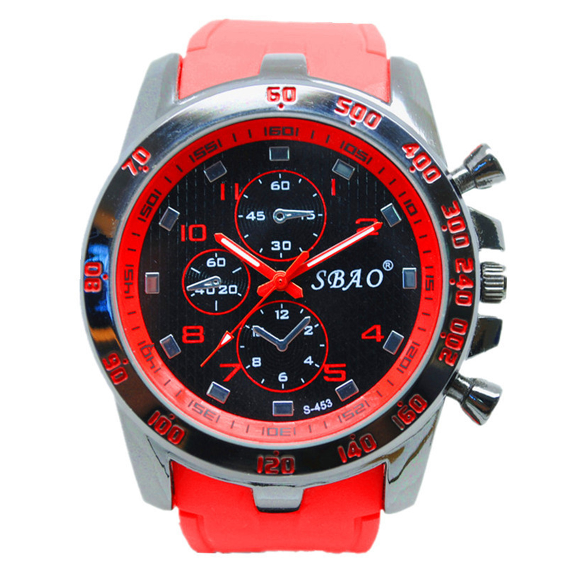 SBAO Stainless Steel Luxury Sport Analog Quartz Modern Men Fashion Wrist Watch Red