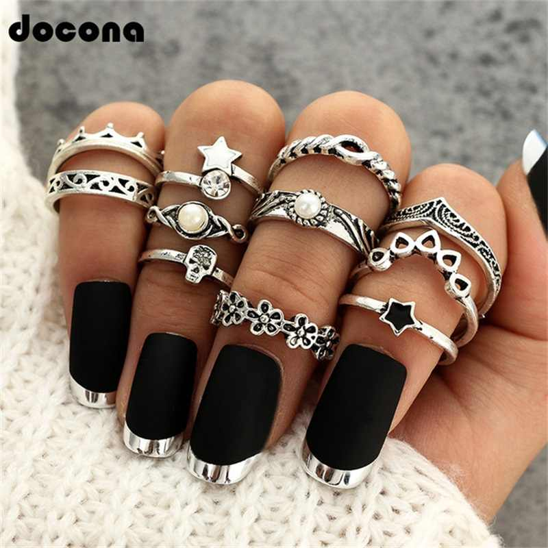 Doocna Antique Silver Star Flower Crystal Ring Punk Ring Steampunk Carved Knuckle Anillos Anel Rings For Women 11 Pcs/Set 4622