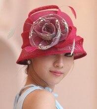 2017 Vestido de la Señora Sinamay Iglesia Derby Boda del Cóctel Del Partido Vintage Sun Cap Viseras Boinas Francés Estilo Fedora Flor Nueva