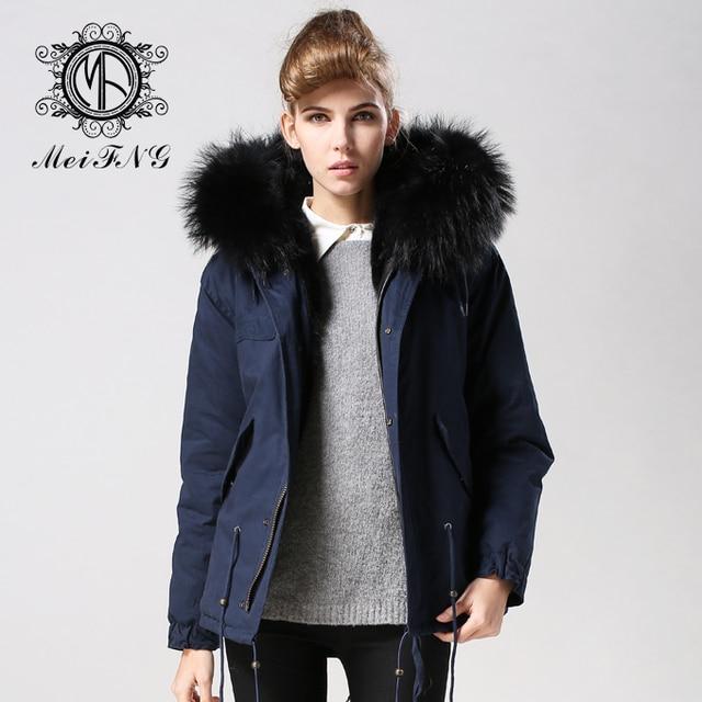 9a2a5a12c148e Free shipping 2017 winter european jacket plus size women dark blue navy  bodysuit faux fur lined parka coat