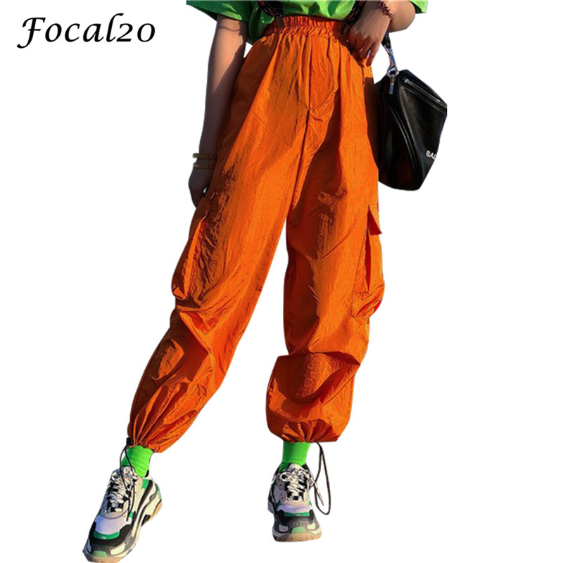 Focal20 Streetwear Orange Women Pants Cargo Pants Elastic Waist Ribbon Pockets Casual Loose Full Length Sporting Pants Trousers