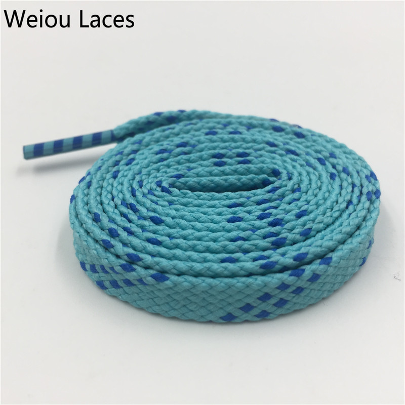 Weiou 1 pair 1cm Width Kids Adult Blue Turquoise Athletic Sport Sneakers Flat Shoelaces Bootlaces Shoe laces Strings Custom lace fashion baby girl t shirt set cotton heart print shirt hole denim cropped trousers casual polka dot children clothing set