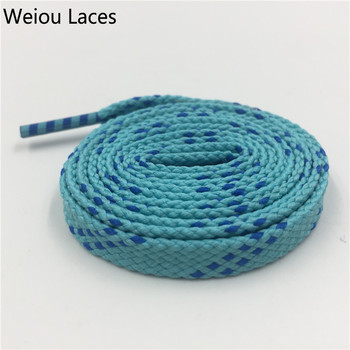 Weiou 1 pair 1cm Width Kids Adult Blue Turquoise Athletic Sport Sneakers Flat Shoelaces Bootlaces Shoe laces Strings Custom lace 1 pair gradient sport shoelaces fashion elastic shoe strings high quality black green canvas personality athletic flat laces