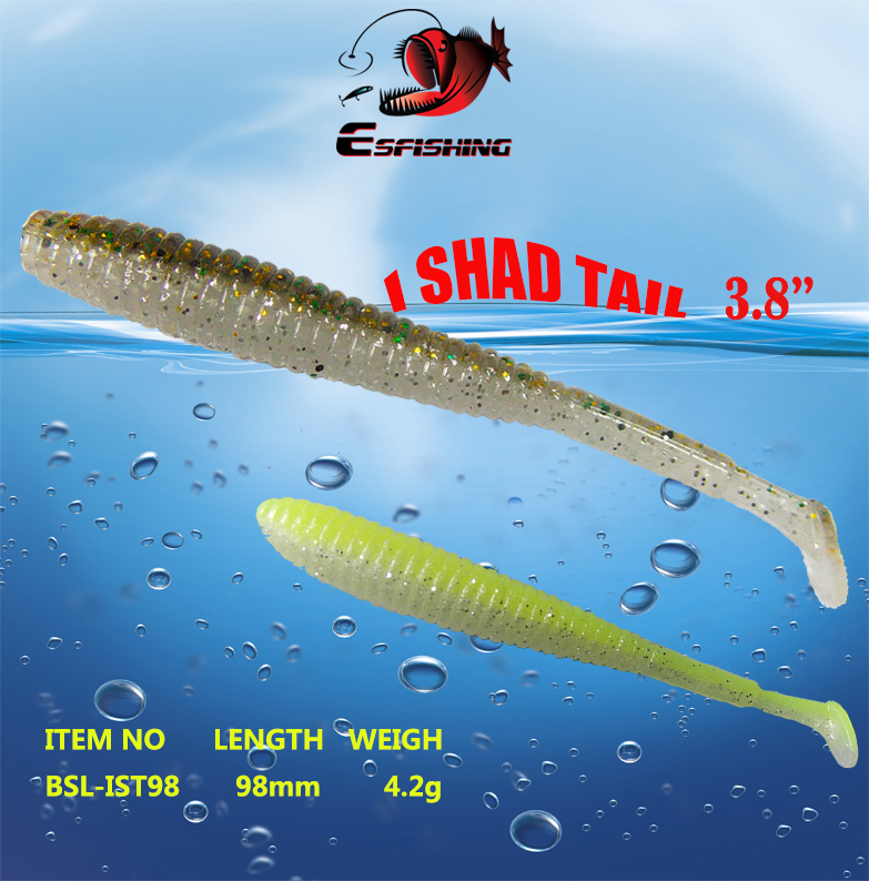 Esfishing I Shad Tail Double Colors Fishing lures Soft Bait 18pcs 9.8cm/4.2g Sea Fishing Lures Feeder Freshwater Saltwater 1set 10pcs soft silicone fishing lure bait freshwater saltwater
