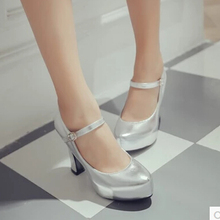 Autumn and winter career word gun with high-heeled shoes silver silver  buckle women s singles 95b97c108698
