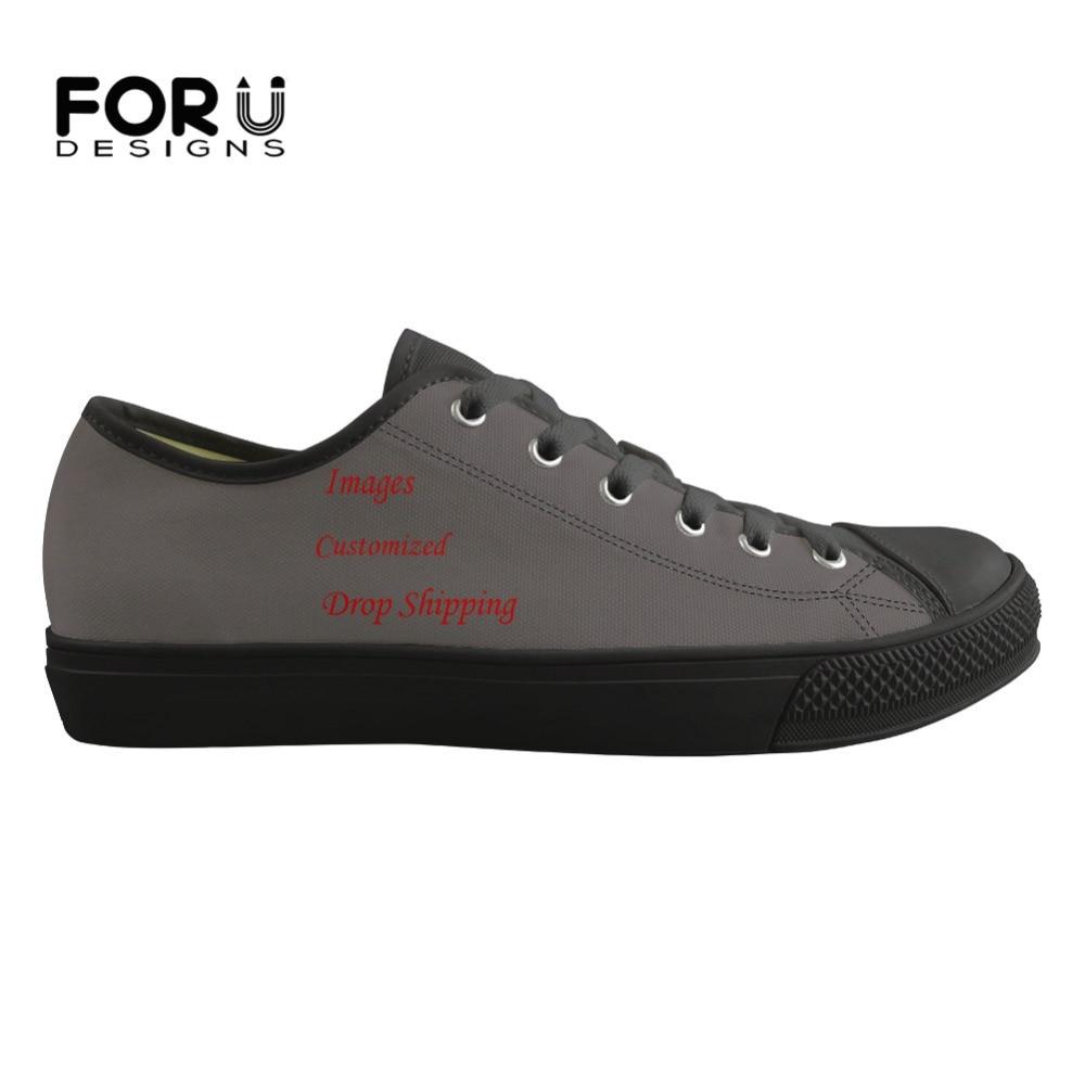 FORUDESIGNS hommes baskets classique Style bas personnalisé Images ou Logo toile hommes vulcaniser chaussures appartements décontracté chaussures à lacets printemps