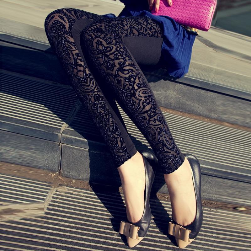 Calças femininas modernas e finas, calças de renda preta para mulheres, primavera e outono, frete grátis, 2020