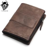 TAUREN New Short Wallet Women Coin Wallets Men Coin Purse Genuine Leather Lady Zipper Design With
