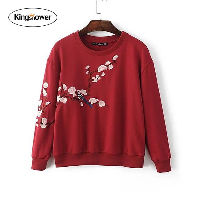 European 2016 Autumn Winter Women's Sweatshirts Flower Embroidered Pullovers bts Tracksuit Female Fleece Hoodies JA7045