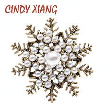 CINDY XIANG New Arrival Pearl Vintage Snowflake Brooches for Women Fashion Baroque Style Winter Corsage Wedding Accessories