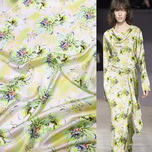 Designer green and yellow flowers print 100% pure silk satin silk fabric 14momme 113cm,SSC126
